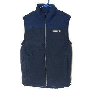 Adidas Vest Faux-Down Puffy Blue 3-Stripe Neck S